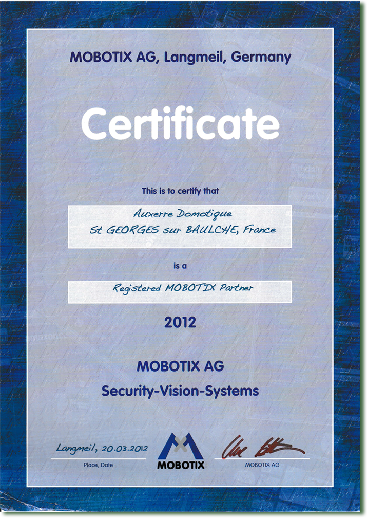 Attestation registed MOBOTIX Partner
