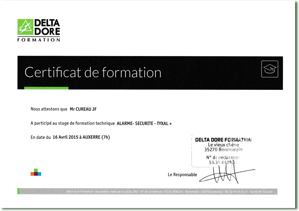 attestation formation DELTA DORE gamme TYXAL+, avril 2014