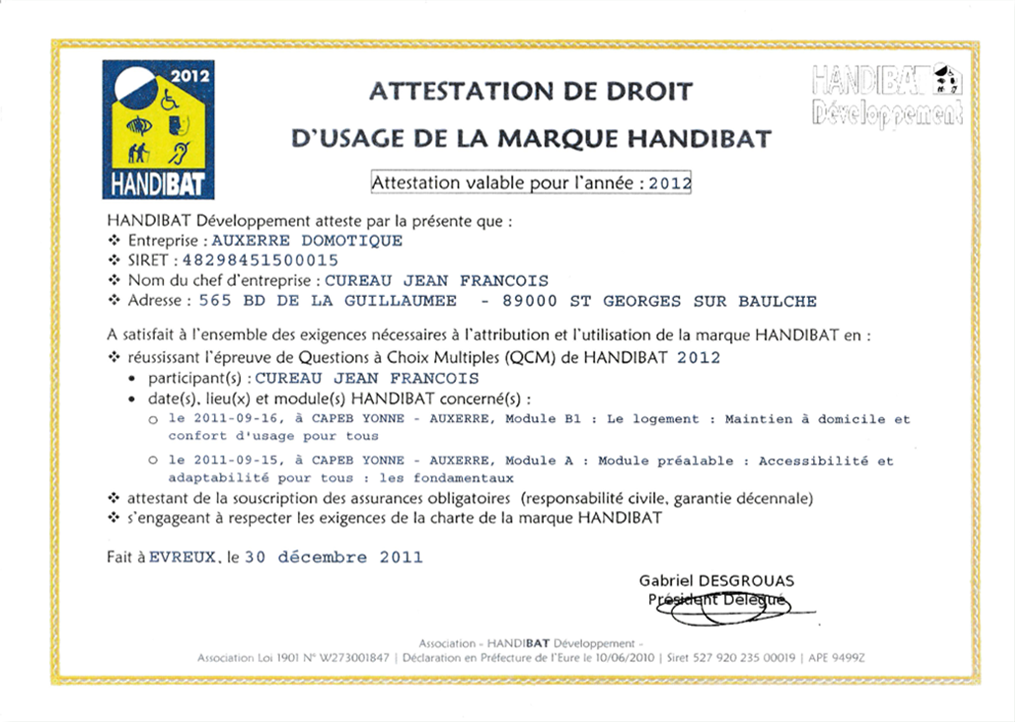 Attestation label Handibat 2012