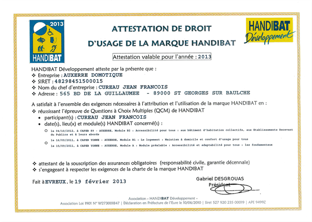 Attestation label Handibat 2013