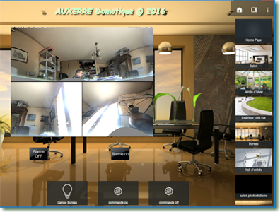 Écran application tablette LIFEDOMUS DESIGN Studio avec caméra MPBOTIX 360°