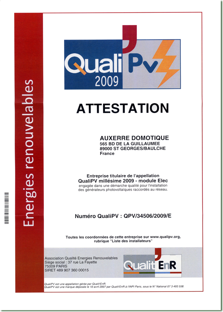 Attestation QualiPV 2009