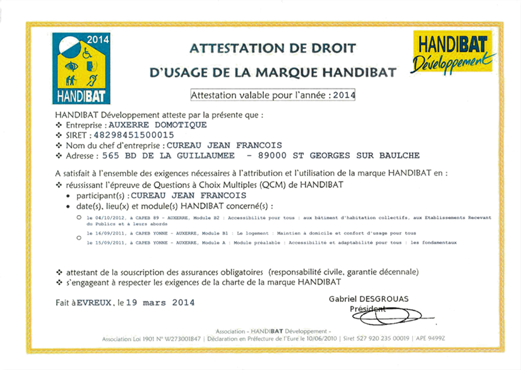 Attestation label Handibat 2014