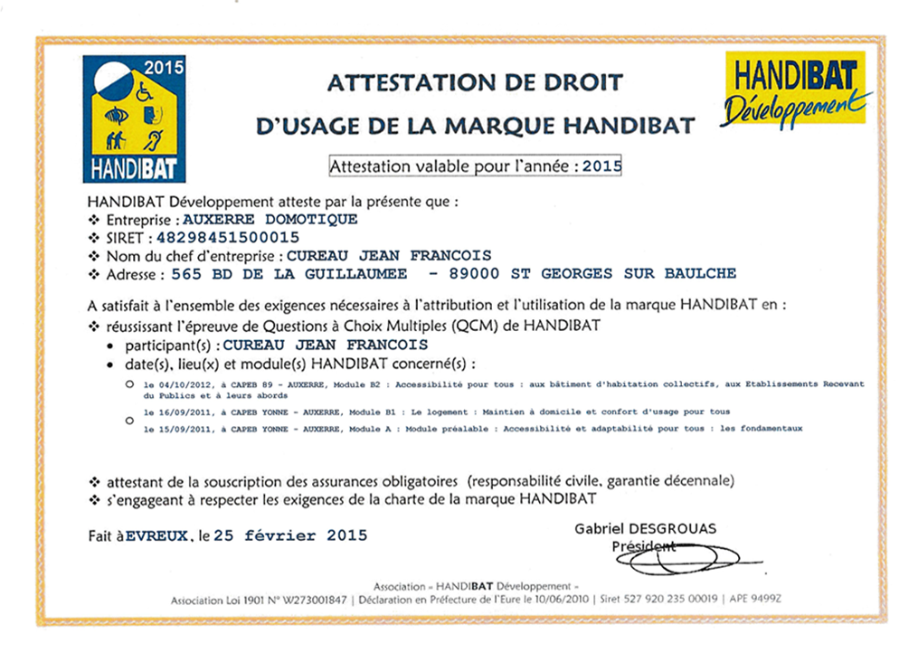 Attestation label Handibat 2015